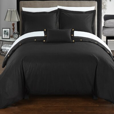 Hartford 8 Piece Duvet Cover Set Size: King, Color: Black