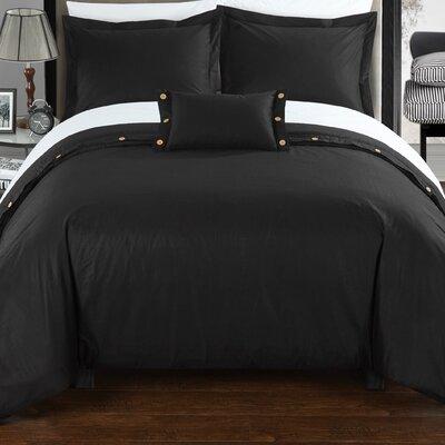 Hartford Duvet Cover Set Size: Twin, Color: Black