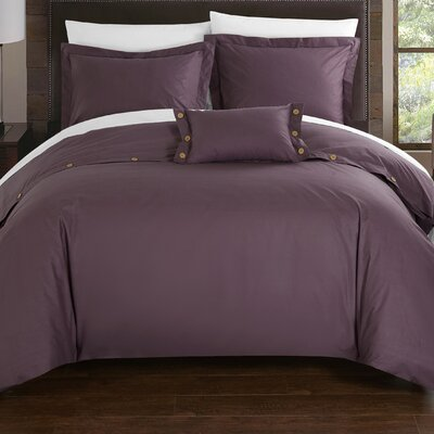 Hartford 8 Piece Duvet Cover Set Size: King, Color: Purple