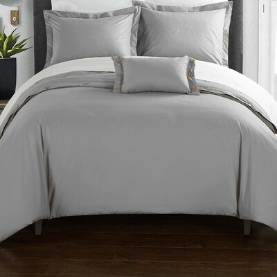 Hartford Duvet Cover Set Size: Twin, Color: Gray