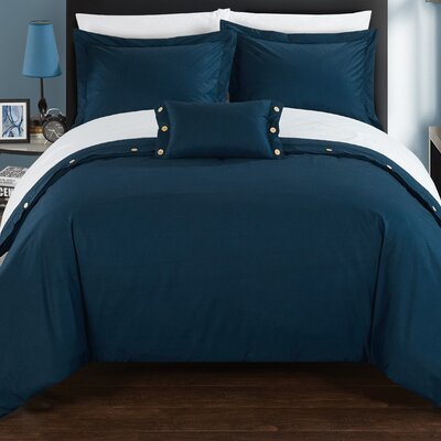 Hartford 8 Piece Duvet Cover Set Size: King, Color: Navy