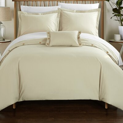 Hartford 8 Piece Duvet Cover Set Size: King, Color: Beige
