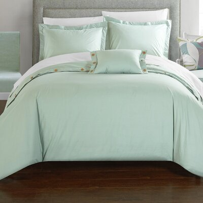 Hartford 8 Piece Duvet Cover Set Size: King, Color: Aqua
