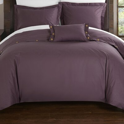 Hartford Duvet Cover Set Size: King, Color: Purple