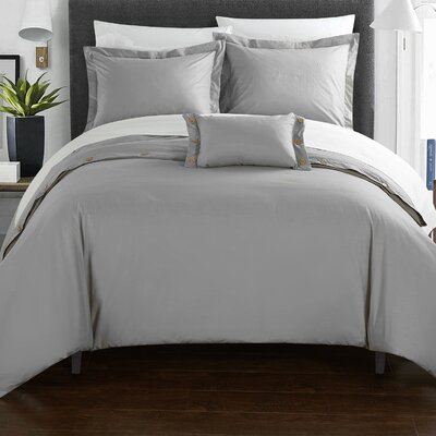 Hartford 8 Piece Duvet Cover Set Size: King, Color: Gray