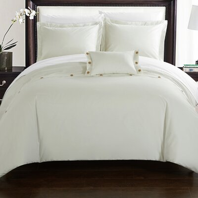 Hartford 8 Piece Duvet Cover Set Size: King, Color: White