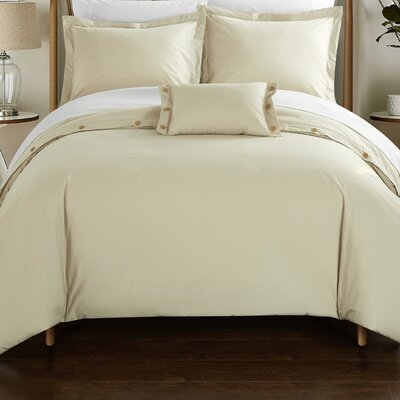 Hartford Duvet Cover Set Size: King, Color: Beige