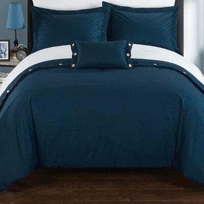 Hartford Duvet Cover Set Size: King, Color: Navy