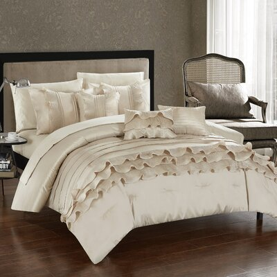 Denver 10 Piece Comforter Set Size: King, Color: Beige