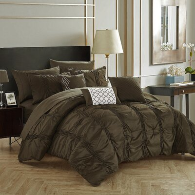 10 Piece Tori Comforter Set Size: Queen, Color: Brown/Dark Green