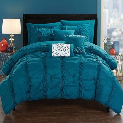 10 Piece Tori Comforter Set Size: King, Color: Navy