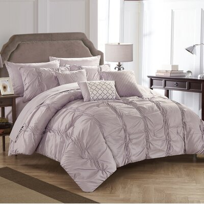 10 Piece Tori Comforter Set Size: King, Color: Lavendar