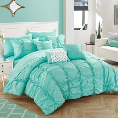10 Piece Tori Comforter Set Size: King, Color: Teal