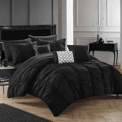 10 Piece Tori Comforter Set Size: King, Color: Black