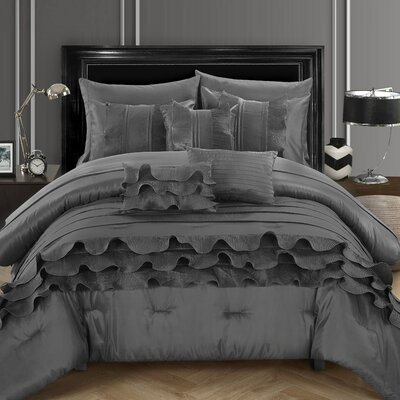Denver 10 Piece Comforter Set Size: King, Color: Gray