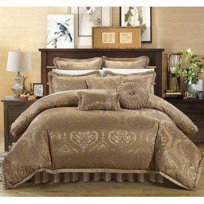 Como 9 Piece Comforter Set Size: Queen, Color: Gold