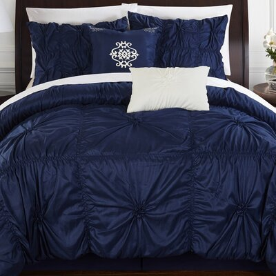 Floressa 6 Piece Comforter Set Size: King, Color: Navy