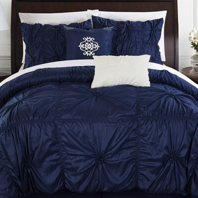 Alba 10 Piece Comforter Set Size: Queen, Color: Navy
