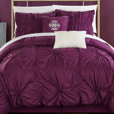 Alba 10 Piece Comforter Set Size: King, Color: Purple