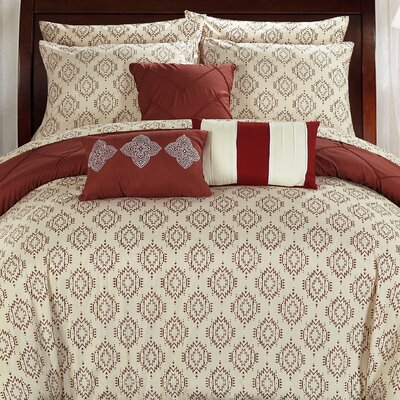 Maddie 10 Piece Reversible Comforter Set Size: Queen, Color: Marsala