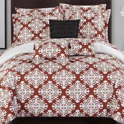 Tania Comforter Set Size: Queen, Color: Marsala