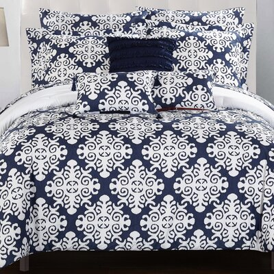 Tania Comforter Set Size: Queen, Color: Navy