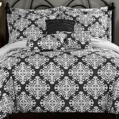 Tania Comforter Set Size: Queen, Color: Gray