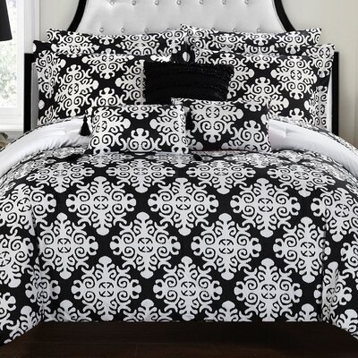 Tania Comforter Set Size: King, Color: Black