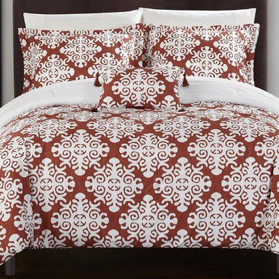 Trina Reversible Duvet Set Size: Twin, Color: Marsala