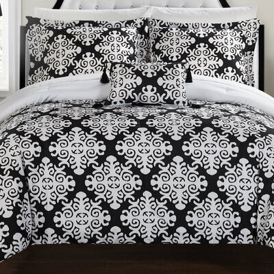 Trina 8 Piece Reversible Duvet Set Size: Queen, Color: Black