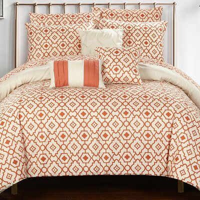 Sabrina 10 Piece Reversible Comforter Set Size: King, Color: Beige