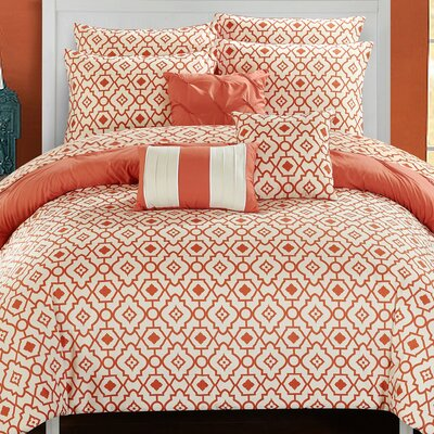 Sabrina 10 Piece Reversible Comforter Set Size: King, Color: Brick