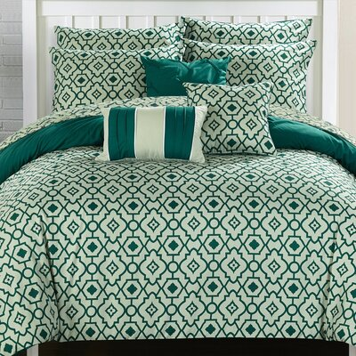 Sabrina 10 Piece Reversible Comforter Set Size: Queen, Color: Dark Green