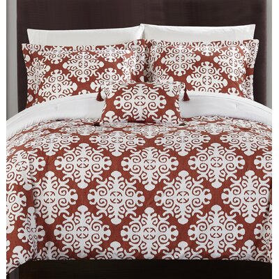 Trina 8 Piece Reversible Duvet Set Size: King, Color: Marsala