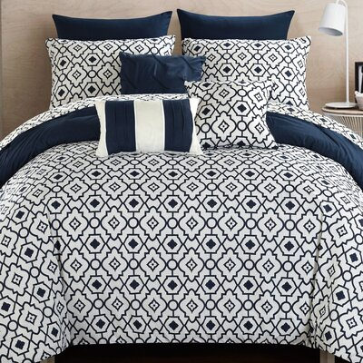 Sabrina 10 Piece Reversible Comforter Set Size: King, Color: Navy/White