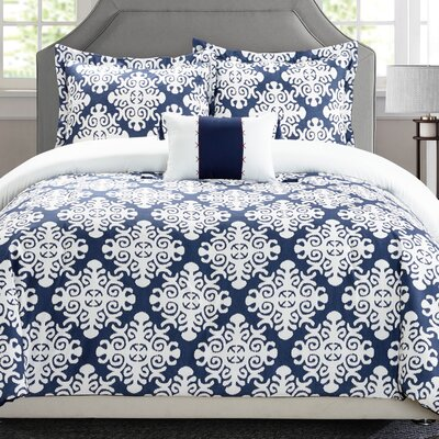Trina Reversible Duvet Set Size: Twin, Color: Navy