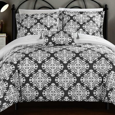 Trina 8 Piece Reversible Duvet Set Size: Queen, Color: Gray