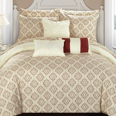 Maddie 10 Piece Comforter Set Size: King, Color: Beige