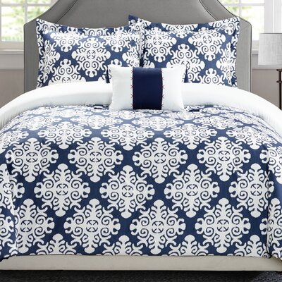 Trina 8 Piece Reversible Duvet Set Size: Queen, Color: Navy