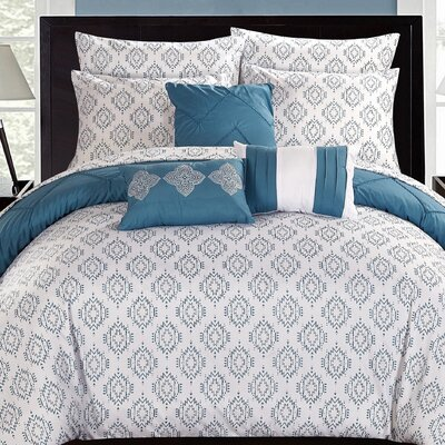 Maddie 10 Piece Comforter Set Size: Queen, Color: Blue