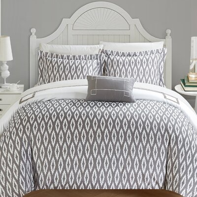 Kendall Reversible Duvet Set Size: Queen, Color: Gray/White