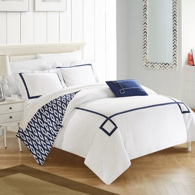Kendall 8 Piece Reversible Duvet Set Size: Queen, Color: Navy/White