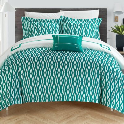 Kendall Reversible Duvet Set Size: King, Color: Aqua/White