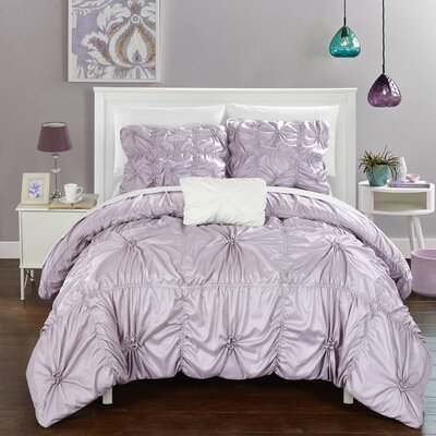 Hamilton 4 Piece Duvet Set Size: Queen, Color: Lavender