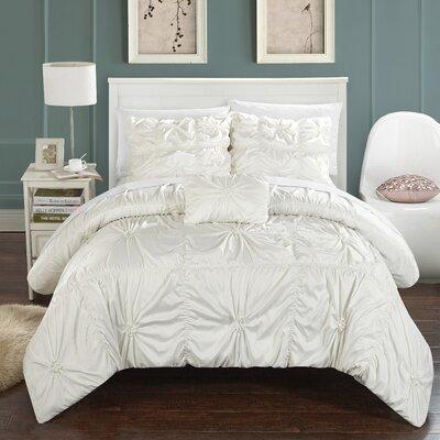 Hamilton 4 Piece Duvet Set Size: Queen, Color: White