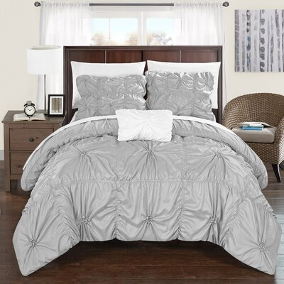 Hamilton 4 Piece Duvet Set Size: King, Color: Silver