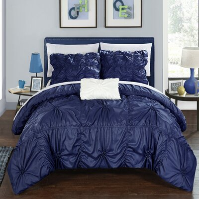 Hamilton 8 Piece Duvet Set Size: King, Color: Navy