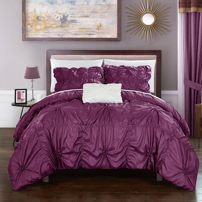 Hamilton 4 Piece Duvet Set Size: Queen, Color: Purple