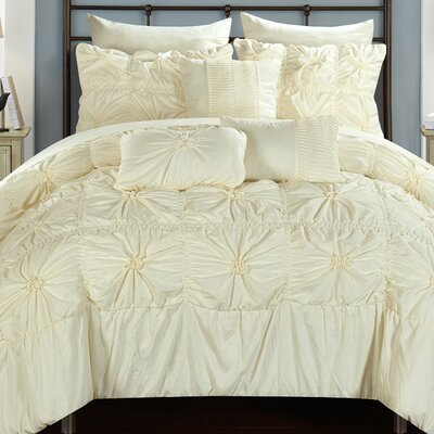 Springfield 10 Piece Comforter Set Size: Queen, Color: Cream