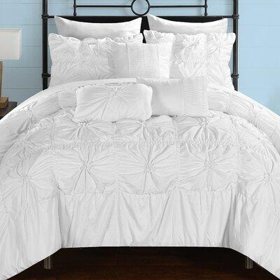 Springfield 10 Piece Comforter Set Size: Queen, Color: White